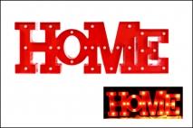Dekoracja z diodą HOME 21,5x64x4cm czerwona