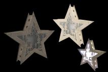 Ozd.boż. Gwiazda drewniana LED 30x7.5x33cm