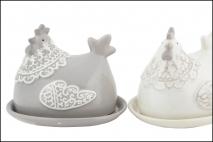 Wielk. Maselniczka ceramiczna 13,4x11,2x11,4cm; 15,6x12,8x1,8cm