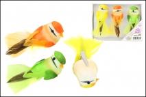 Kpl Ptaszek dekoracyjny na klipsie 3szt 10x3.5cm
