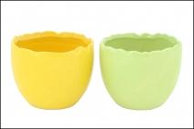 Wielk. Osłonka ceramiczna 9,2x9,2x7,8cm zielony, żółty