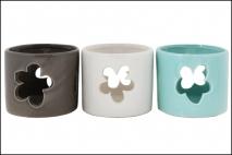 Wielk. Świecznik ceramiczny 9,2x9,2x8cm, biały, szary, niebieski