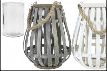 Lampion wiklinowy 14x14x31cm, biały/szary