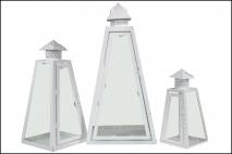 Kpl Latarnia metalowa 3szt 26x26x57cm, 17,5x17,5x40cm, 12,3x12,3x26cm