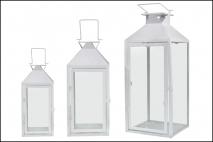 Kpl Latarnia metalowa 3szt 20,5x20,5x48cm, 16,5x16,5x37,5cm, 13x13x28cm