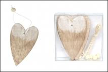 Kpl Zawieszka drewniana-serce 6szt, 9cm