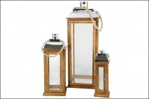 Kpl Latarnia drewniana 3szt 31x31x85cm, 21,5x21cm ,5x56cm, 13x13x42cm