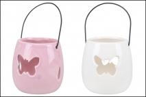 Lampion ceramiczny 9,5x9,5x10cm mix kolorów różowy i biały