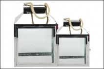 Kpl Latarnia metalowa 2szt 26x17,5x38,5cm, 20x14,5x29,5cm