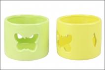 Świecznik ceramiczny motyl 9x9x8cm żółty, zielony