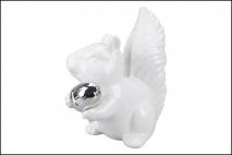 Figurka ceramiczna wiewiórka 20,5x12x22cm, biały