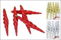 Ozd.boż. Zawieszka na choinkę - Sopel 5szt w kpl, mix 4 kolorów: czerwony, złoty, srebrny, biały