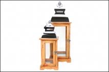Kpl Latarnia drewniana 2szt 2 rozmiary 15,5x15,5x43cm, 22x22x61cm