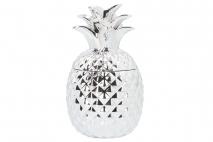 Pojemnik ceramiczny - ananas 13x13x23cm, srebrny