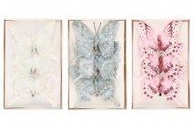 Kpl Motyl z piórek na klipsie 3szt 12cm