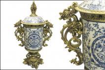 Puchar ceramika biało niebieski 60x22cm