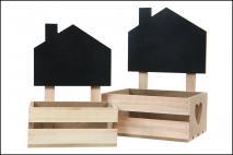 Kpl Skrzynka drewniana na doniczkę 2szt 22x16x30; 26x20x36,5cm