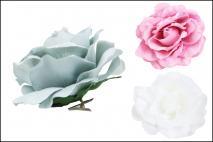 Kwiat dekoracyjny na klipsie biały 13cm