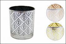 Świecznik dekoracyjny 7x8,3cm mix kolorów: miedziany, czarny, złoty
