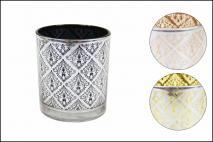 Świecznik dekoracyjny 5,5x6,5cm mix kolorów: miedziany, czarny, złoty
