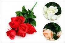 Kwiat sztuczny RÓŻA 45cm 45 cm, 3 kolory, 9 gł.