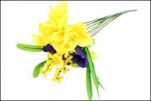 Kwiat sztuczny - ŻONKIL 9gł, 40cm żółto-fioletowy