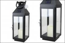 Latarnia solarna ze świeczką LED 14x15x43,5cm, metalowa