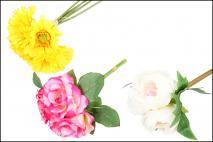 Kpl Kwiat sztuczny 28cm, 3szt w bukiecie mix,róża, peonia, gerbera