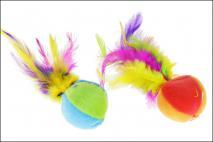 Zabawka dla zwierząt 5cm tkanina synt. piórka