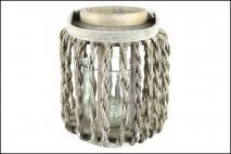 Lampion wiklinowy ze szkłem biały 22x28,5cm