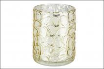 Świecznik szklany 7,8x10cm, złoty