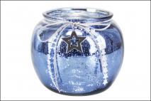 Świecznik szklany 18x15cm, niebieski