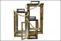 Kpl Latarnia drewniana 3szt 20x48cm, 16,5x36cm, 12,5x28cm