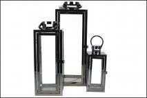 Kpl Lampion w metalowej ramie 3szt kolor czarny h1; 50cm, h2; 38cm, h3; 25cm