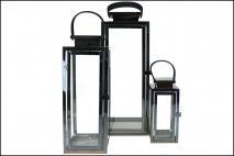Kpl Lampion w metalowej ramie 3szt kolor czarny