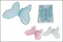 Kpl Motyl dekoracyjny na klipsie 3szt 12cm