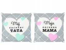 Poduszka dekoracyjna 40x40cm Mama/Tata mix