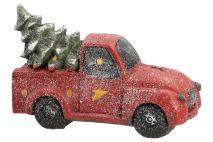 Ozd.boż. Figura dekoracyjna - samochód z LED 40,1x17,3x25,7cm, magnesia