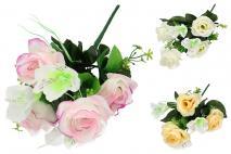 Bukiet kwiatów sztucznych - róża 7gł.