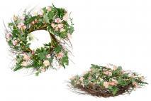 Wieniec dekoracyjny z kwiatami 50cm