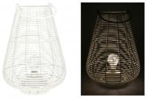 Lampion wiklinowy z LED Biały 28x15x38cm
