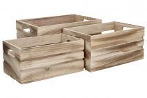 Kpl Skrzynka drewniana 3szt 15,17,19cm kolor naturalny