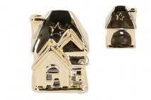 Ozd.boż. Świecznik ceramiczny domek 6,5x6,3x9cm, złoty