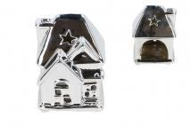 Ozd.boż. Świecznik ceramiczny domek 6,5x6,3x9cm, srebrny