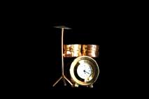 Zegar mini pozłacany, perkusja 7cm