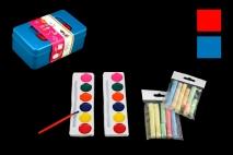 Kpl Farby i kredy w pudełku plastikowym farby 15cm kredy 7cm
