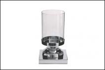 Świecznik szkło, baza z metalu 27x12cm, baza 12x15x15cm