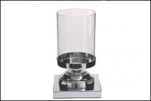 Świecznik szkło, baza z metalu 32x12cm, baza 12x15x15cm